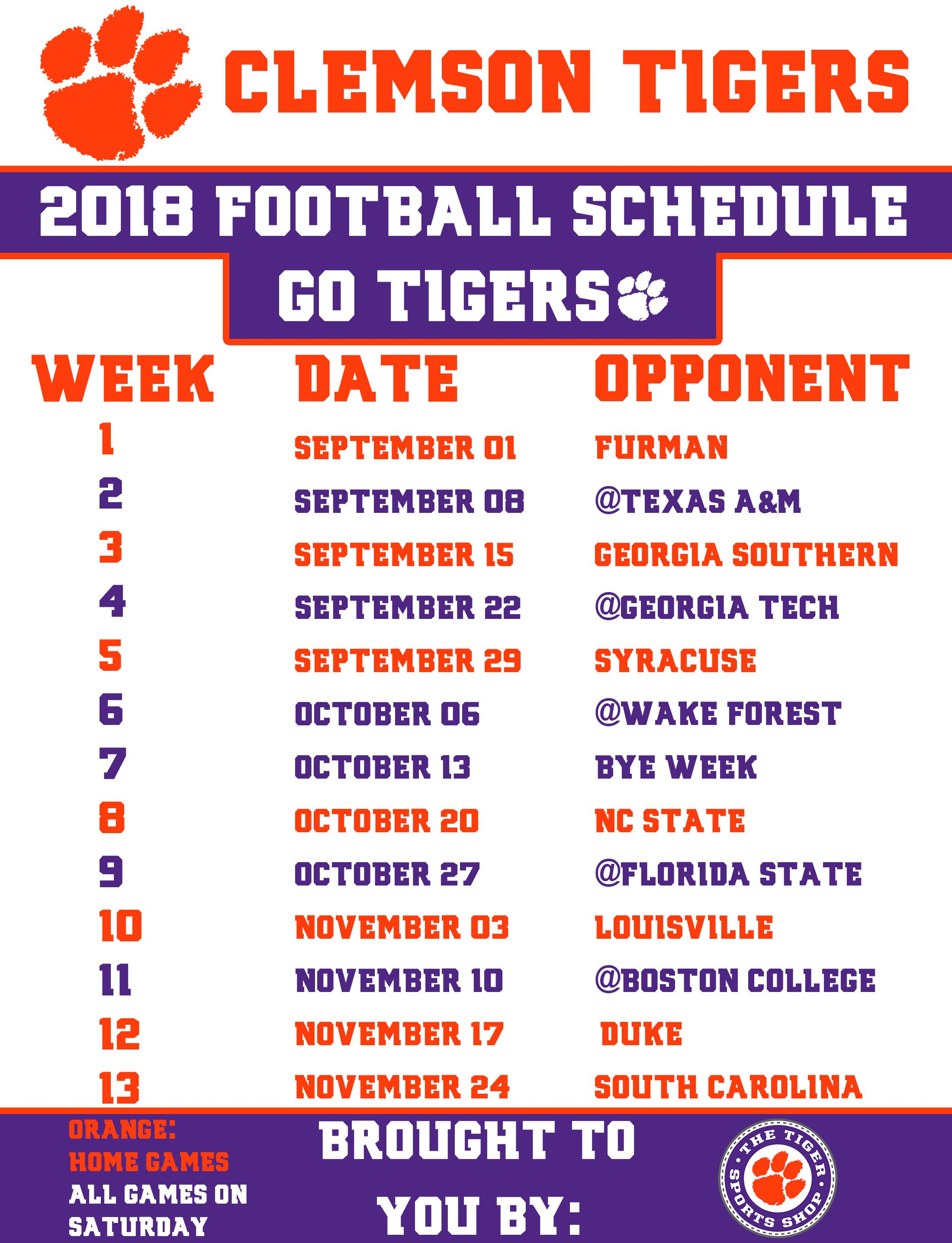 Ready For Another Clemsonfb Season Here S A Printable Schedule On Us Just Print To Wallet Siz Clemson Tigers Football Clemson Clemson Football Schedule