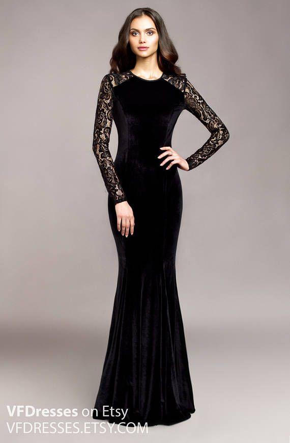 088681851e Black velvet evening dress