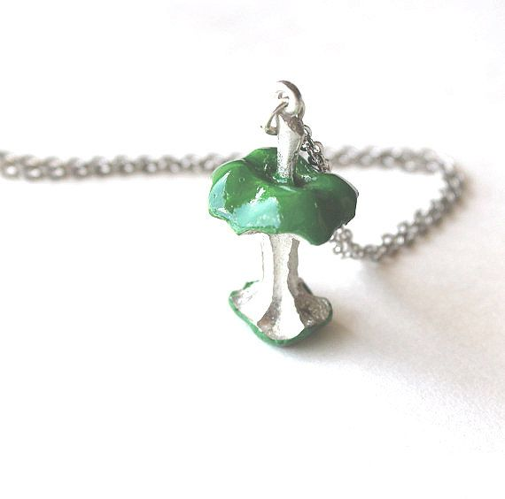 Apple core necklace green and silver pendant by Bunnys on Etsy, $26.00