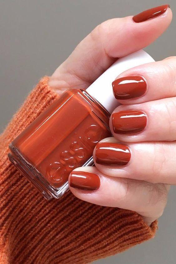 Burnt-Orange - Fall Nail Colors #fallbeauty Burnt-Orange - Fall Nail Colors #fallnails