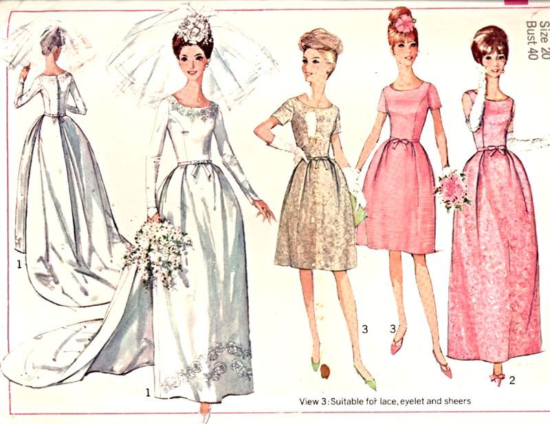 60s Bridal Gown Wedding Bridesmaid Dress Pattern Simplicity 6353 SO ...