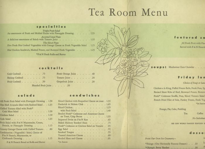 A Frederick Nelson Department Store Tea Room Menu Located