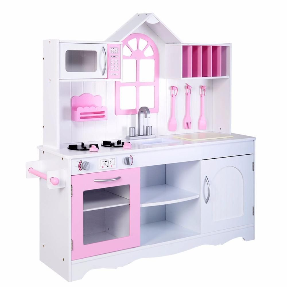 Goplus Kids Wood Kitchen Toy Cooking Pretend Play Set Toddler Wooden ...