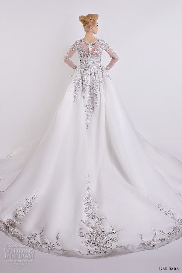 1d41a4ff7fbbf dar sara bridal 2016 wedding dresses gorgeous a line gown embellished sheer  long sleeves beaded bodice back view
