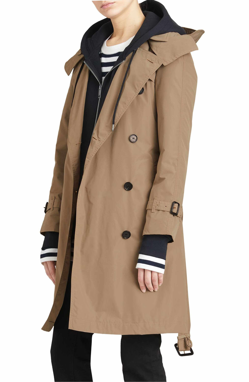 aefdbf603ad Main Image - Burberry Amberford Taffeta Trench Coat with Detachable Hood