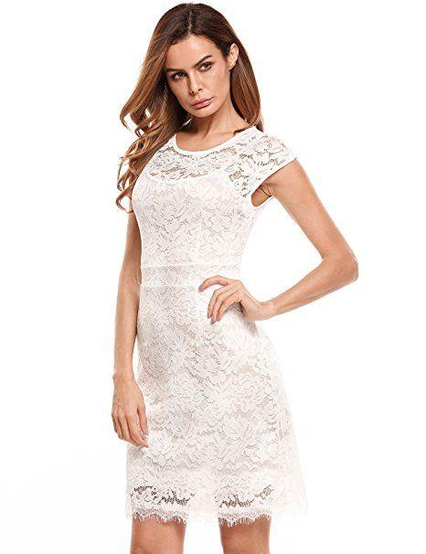 Meaneor Damen Elegantes Spitzen Kleid Mini Sommerkleider ...