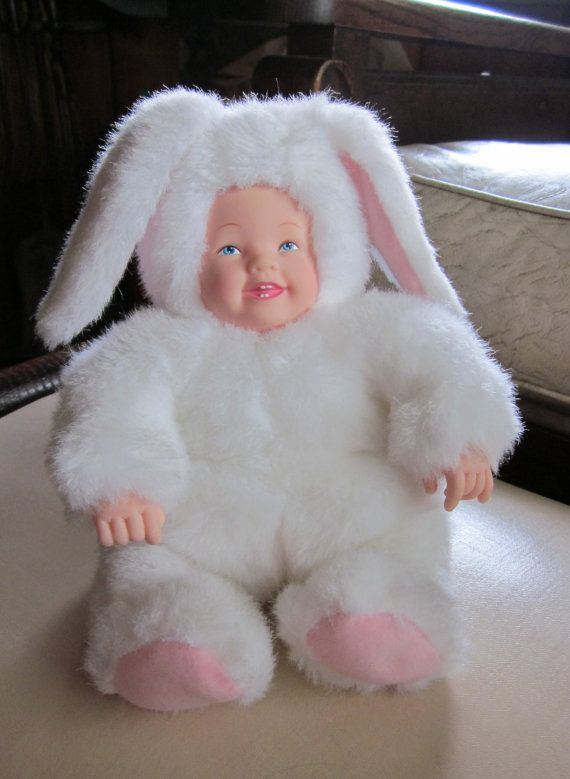 Anne Geddes 1990s Porcelain Face And Hands Plush By