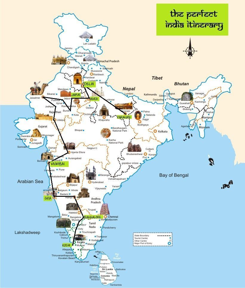 The perfect india itinerary route map viajes the perfect india itinerary route map global gallivanting travel blog gumiabroncs Choice Image