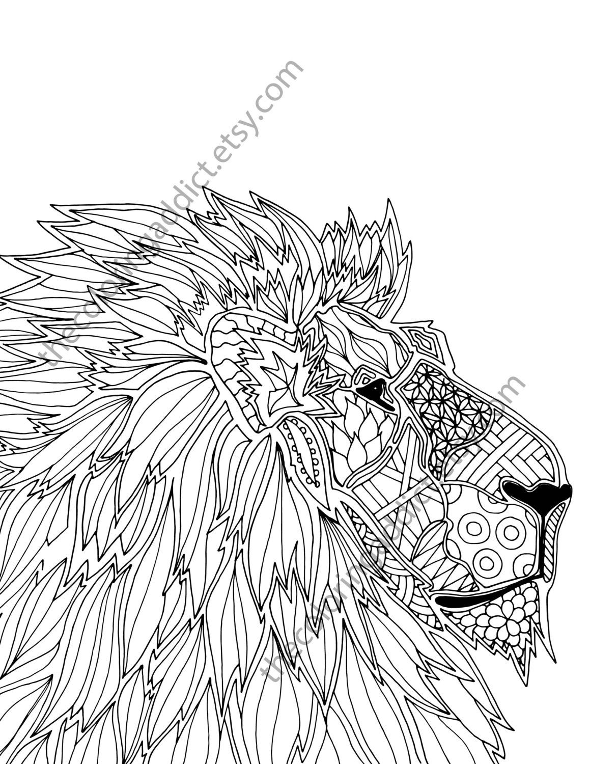 Animal Coloring Page Adult Coloring Page By Thecoloringaddict