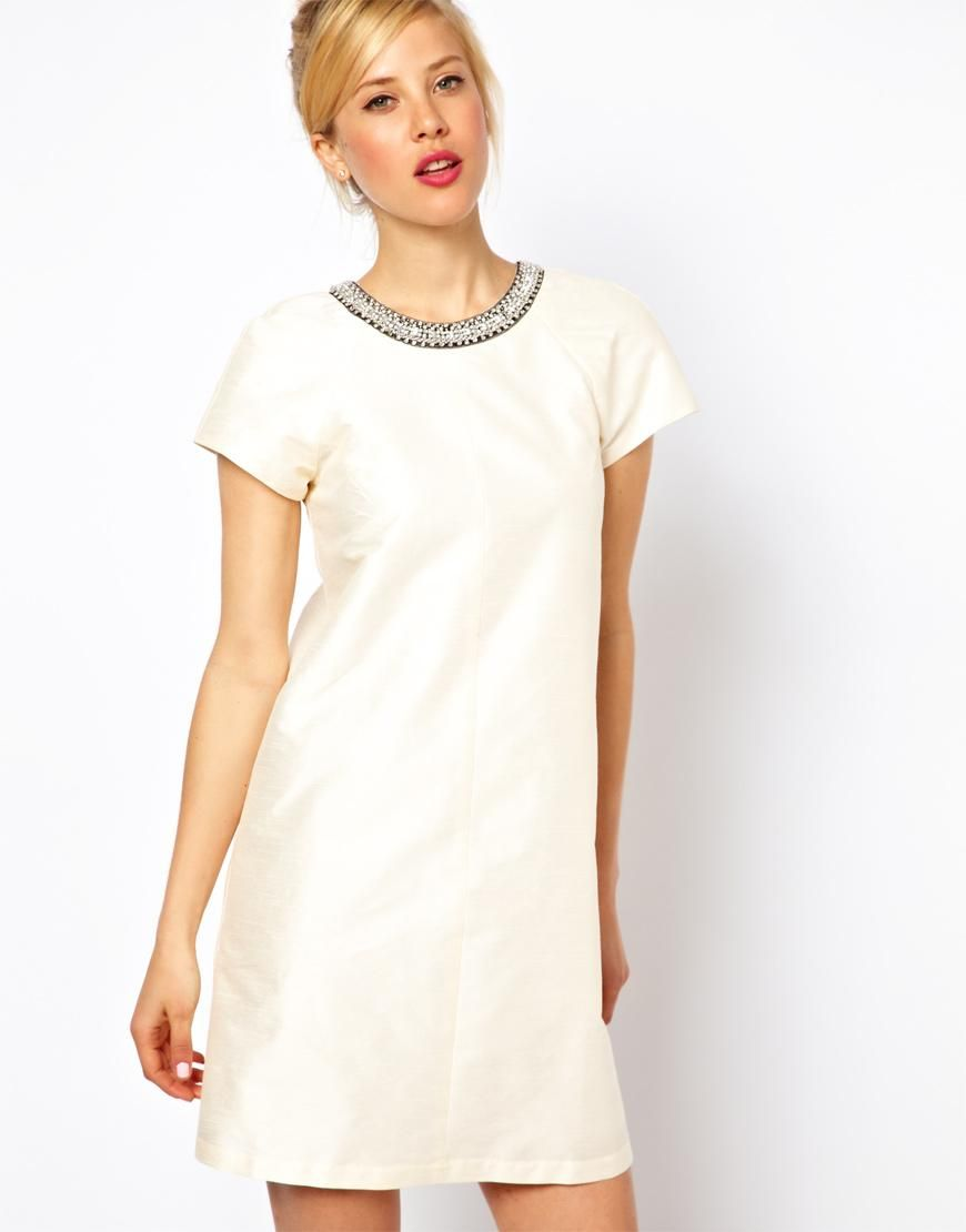Shift dresses for wedding guests  Asos embellished collar shift dress  my style  Pinterest  Dresses
