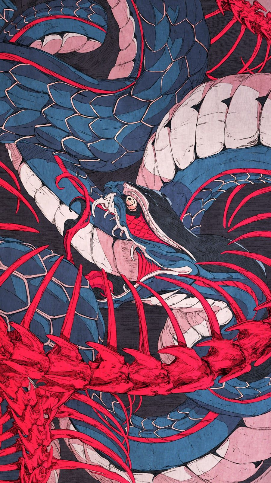 Japanese art wallpaper: Snake illustration wallpaper thumbnail