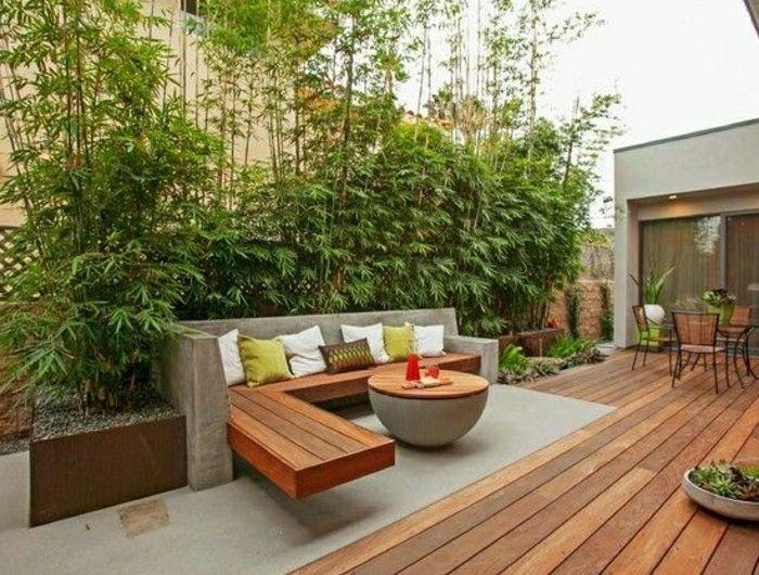 Moderne Gartengestaltung Holz Boden Sichtschutz Pflanzen
