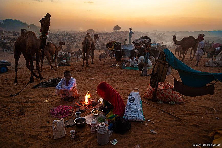 Sunset at the Pushkar Camel Fair, in Rajasthan, India