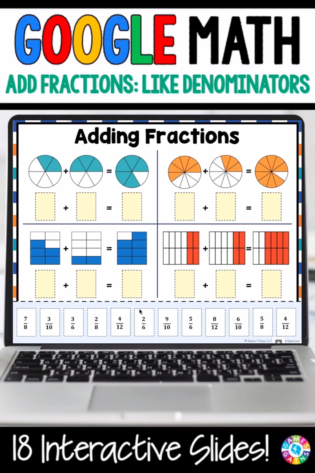 Photo of 4th Grade Adding Fractions with Like Denominators Google Slides