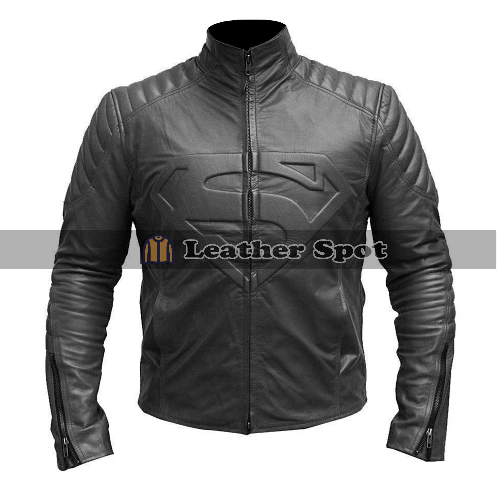 Smallville Superman Logo Biker Style Black Leather Jacket