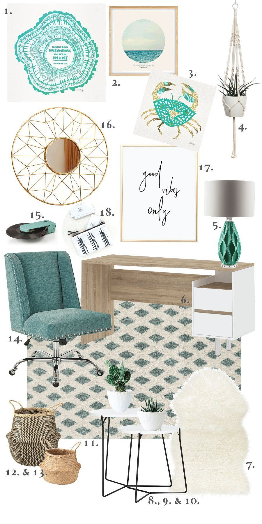 Boho Beach Chic Office Mood Board And Ideas With Images Boho