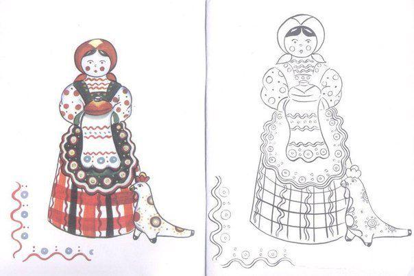 раскраска | Раскраски, Русское народное искусство и Стиль ...