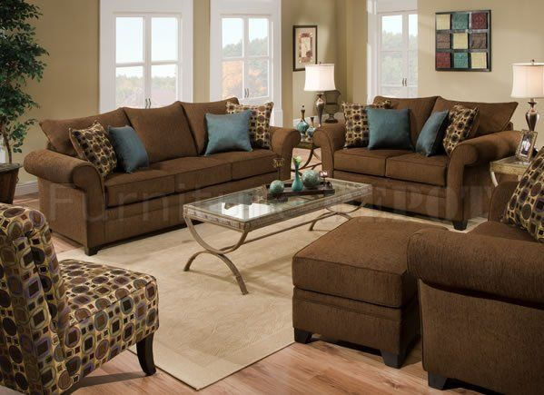 Brown Fabric Sofa Loveseat Set W