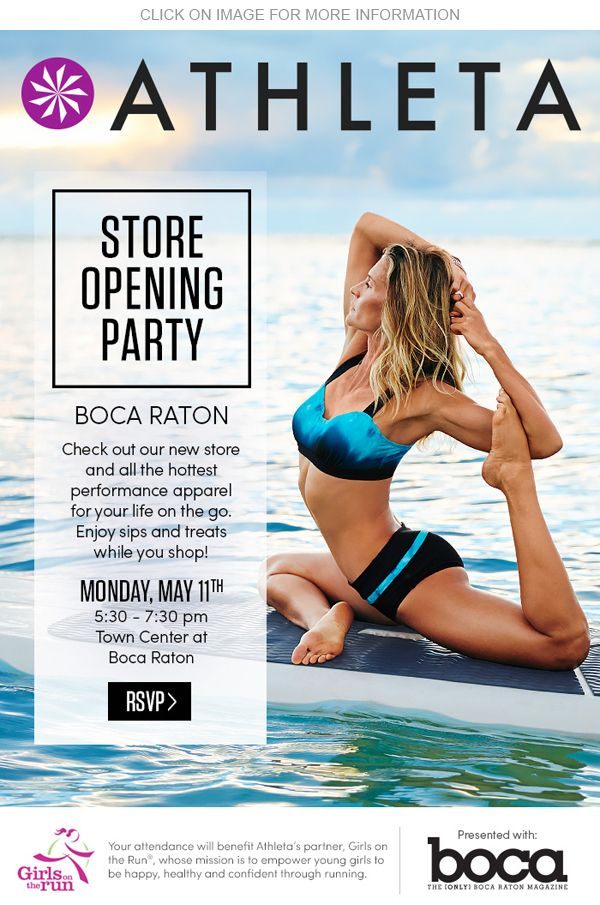 Ladies, it's time to renew & replenish your beloved yoga pants. Sip, shop, & celebrate the grand opening of Athleta at Boca Town Center tonight at 5:30pm!