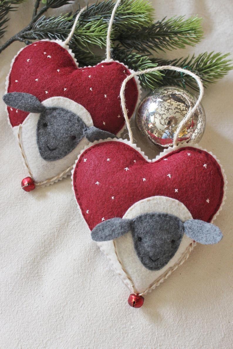 Hand Embroidered Winter Lamb Heart Ornaments Etsy Felt Crafts Christmas Felt Christmas Ornaments Felt Christmas