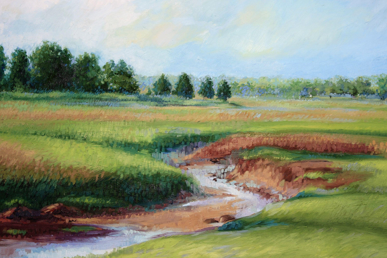 Salt Marsh Original Oil Painting On Canvas Cape Cod Landscape Summertime Salt Marsh Landscape Painting Landscape Paintings Original Oil Painting Oil Painting On Canvas