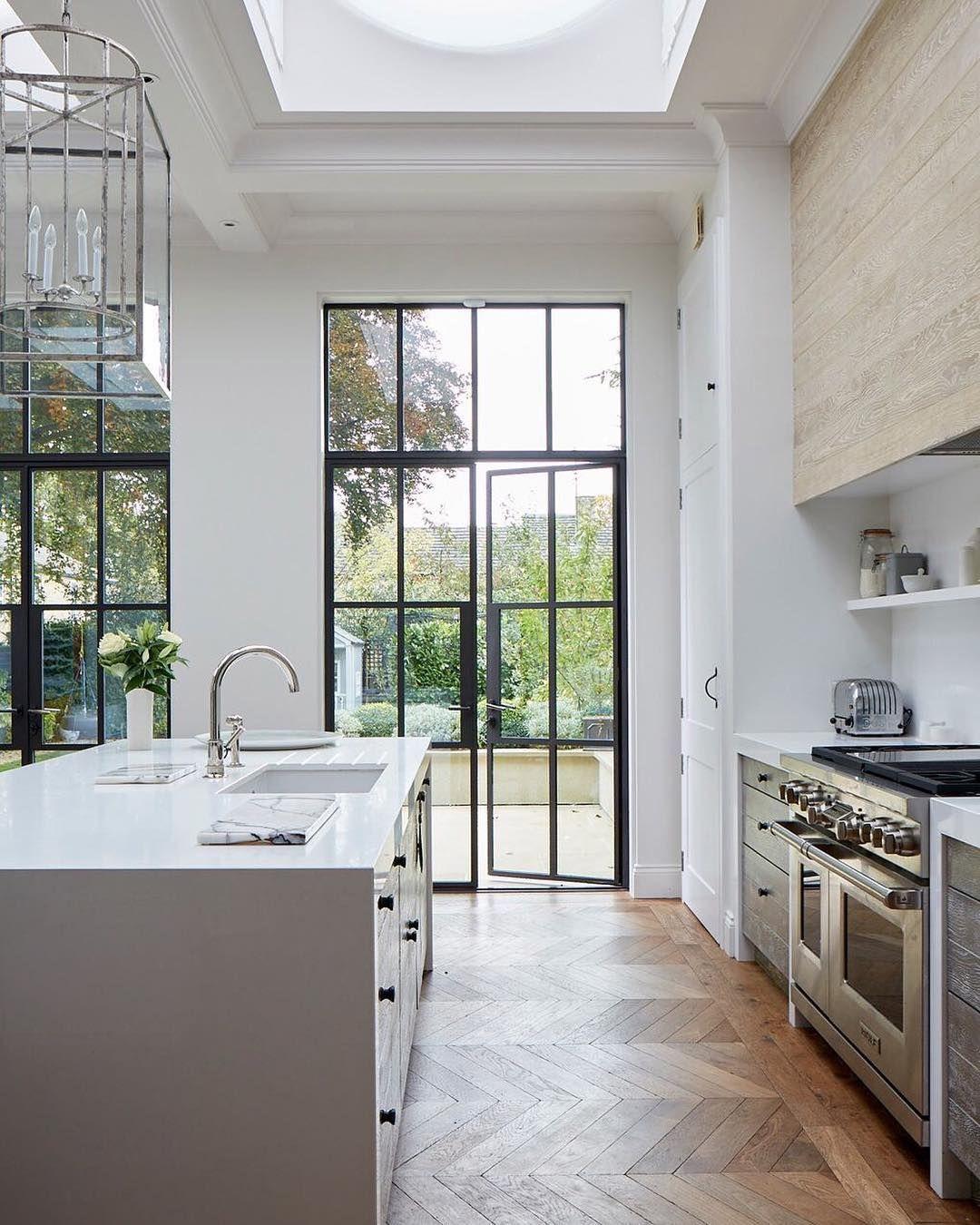 21 Victorian Style Kitchen Design And Ideas: Steel Doors And Chevron Floors