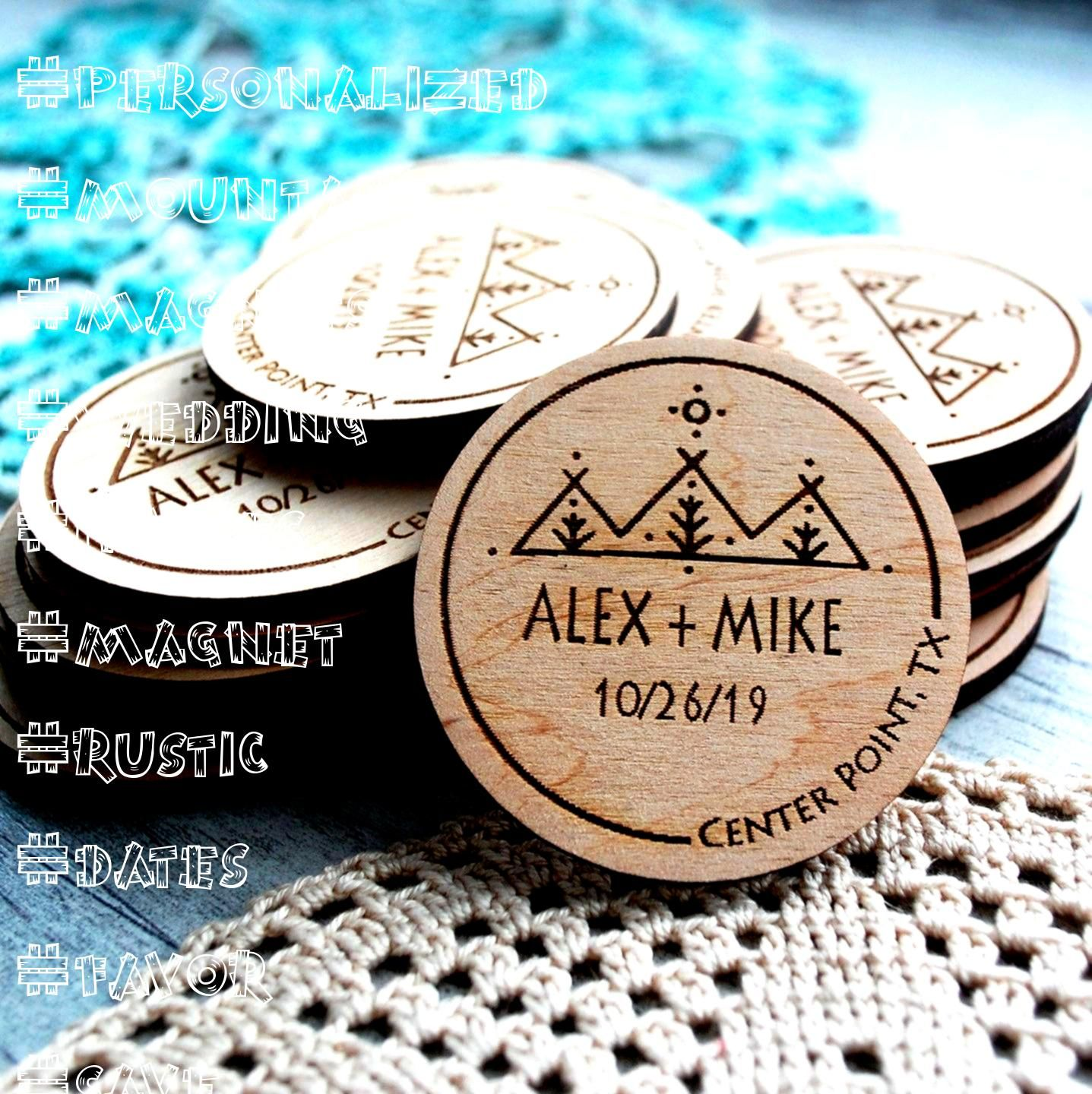 save the date magnets Boho wedding invites Wood save the dates Personalized wedding magnet set Rustic Wedding favor Mountain save the date magnets Boho wedding invites Wo...