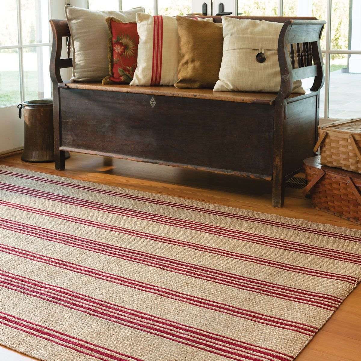Farmhouse red striped braided jute rug by willowhillsigns