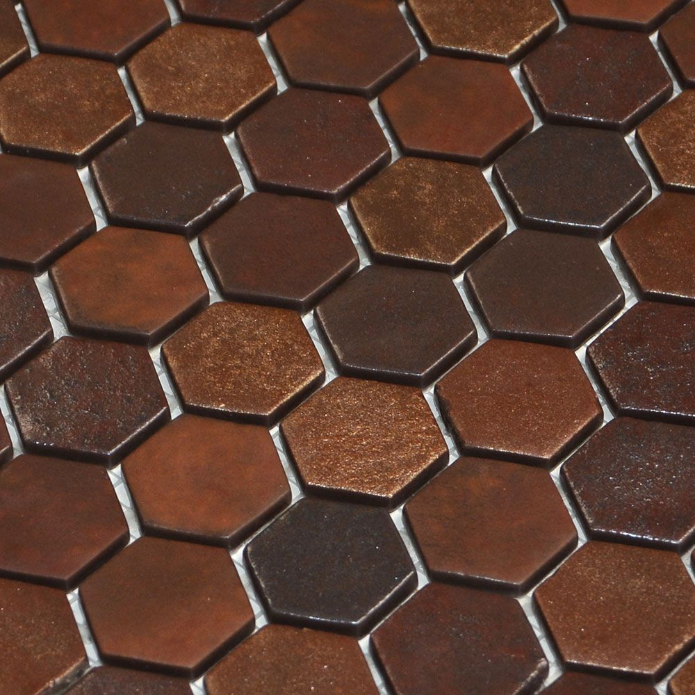 Gorgeous Copper Browse Hexagon Mosaic Tiles Made From 98 Recycled Gl