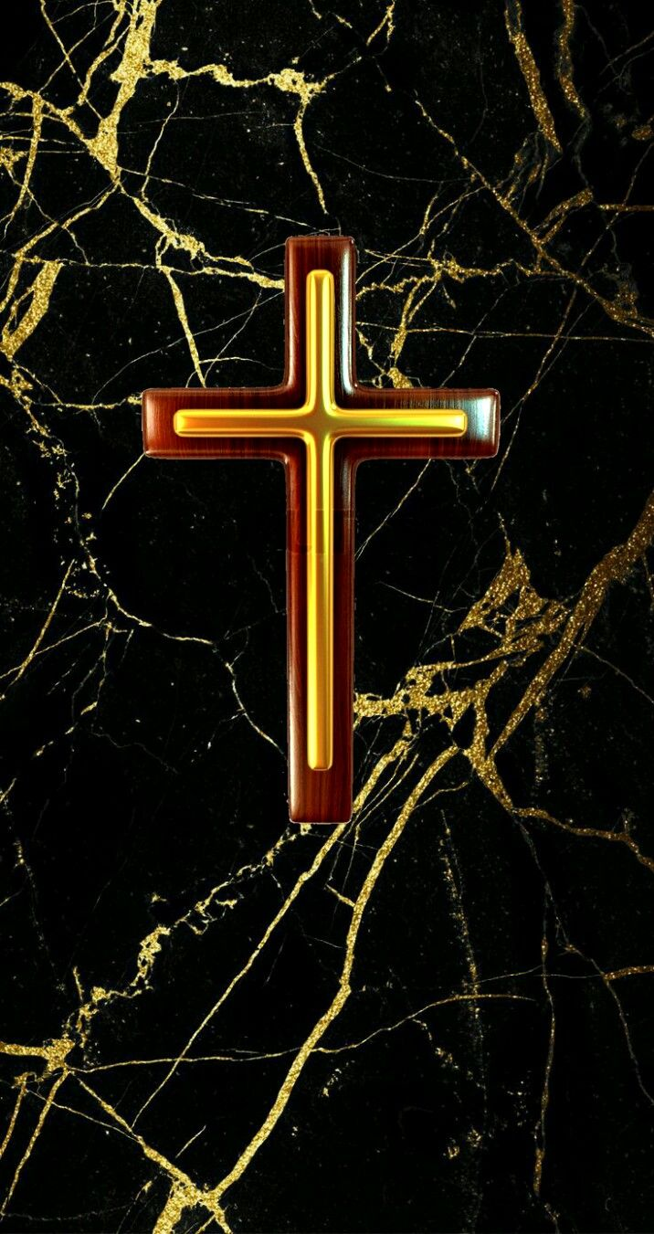 Small gold cross on gold marble iPhone wallpaper Gold