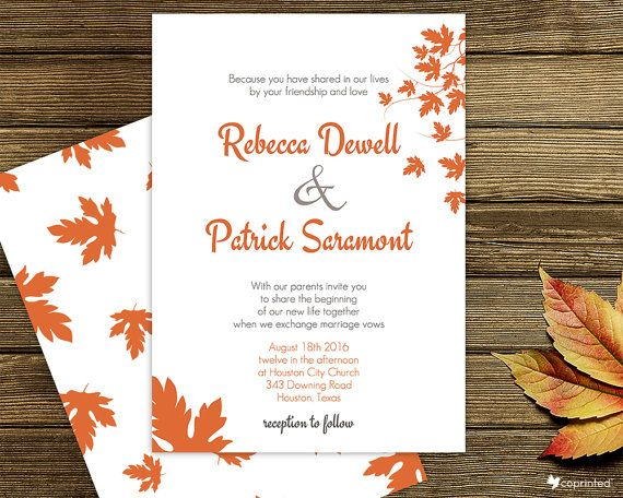 Free Wedding Invitation Template Printables Autumn