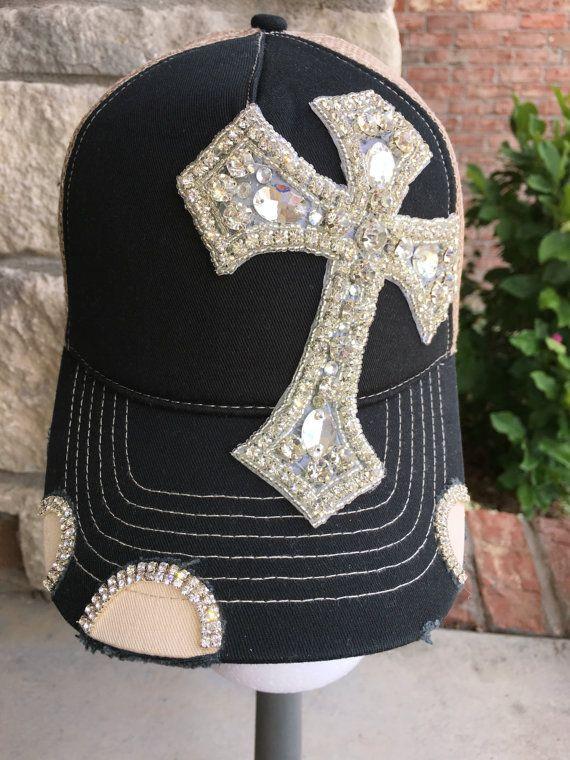 ce771037a3e Women s black cross Trucker Hat. Baseball by bowsanddivathings ...