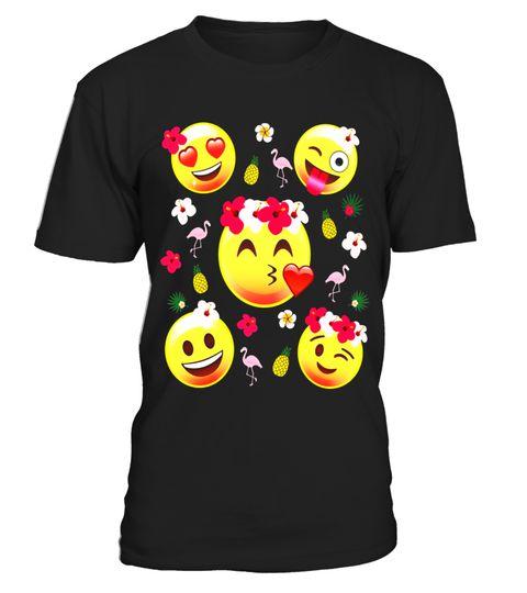 # Funny Emoji Luau Flamingo Pineapple Shirt Tropical PJ