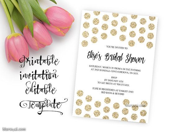 Printable invitation TEMPLATE, bridal shower editable template - invitation word template