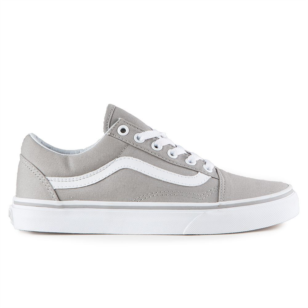 The Vans Classics Old Skool Women's Shoes in the Drizzle/True White  Colorway are the