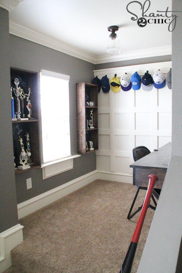 DIY-Trophy-Storage-for-a-Teen-Boy Bedroom Decorating ideas in 2018