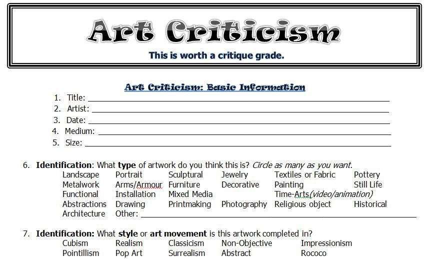 Printables Art Critique Worksheet 1000 images about art critique ed on pinterest artworks critical thinking and student