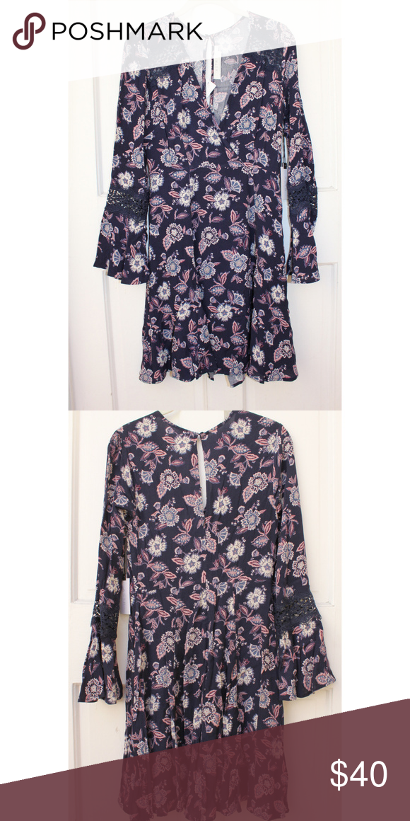 5d075cfcfb4 ASTR Nordstrom Navy Blue Pink Floral Dress Lace S Pretty ASTR floral dress  with lace accents at shoulder and sleeves New with tag Size small No offers  ...