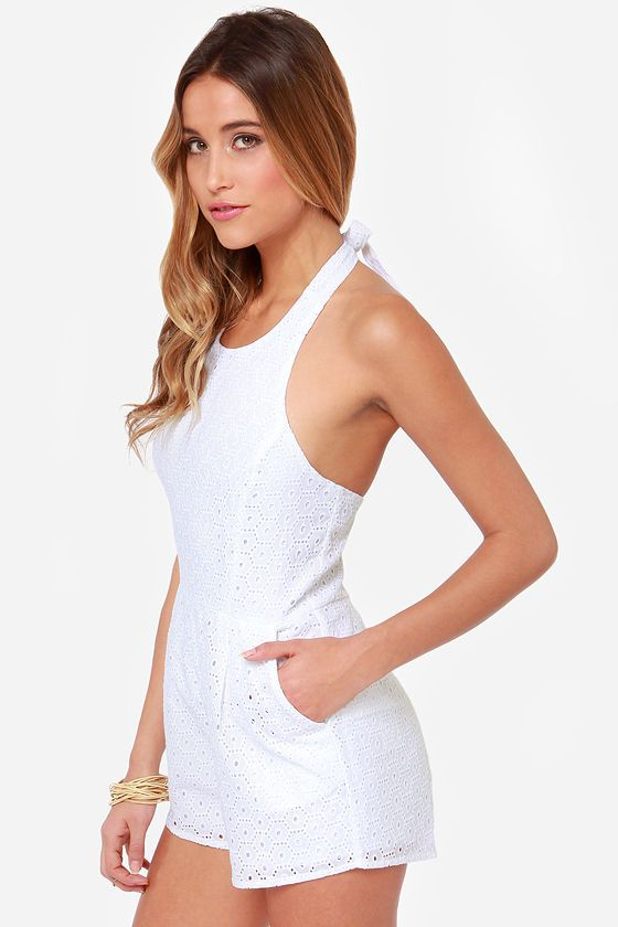 Mink Pink House Prairie White Lace Romper At Lulus