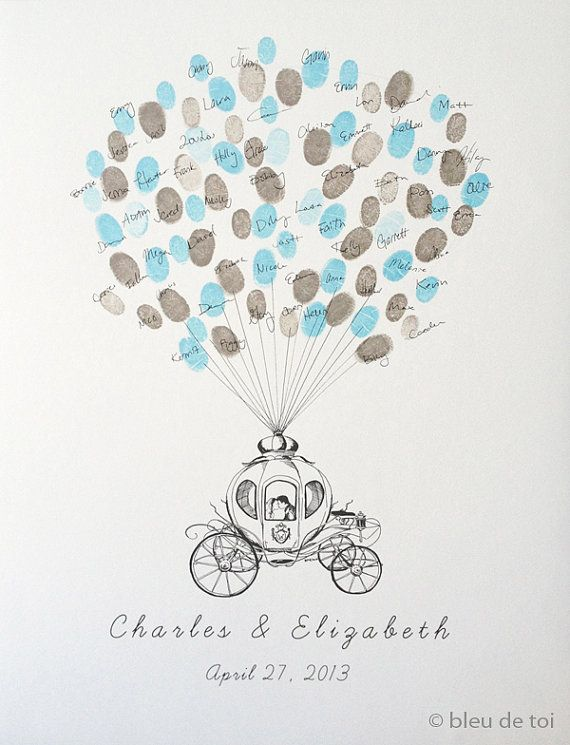 Wedding Guest Book Alternative Fairytale Carriage Thumbprint