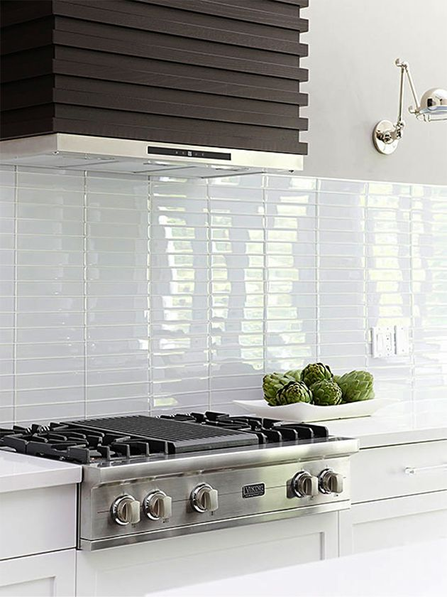 Stacked Subway Tile Handmade White Ceramic Kitchen Backsplash