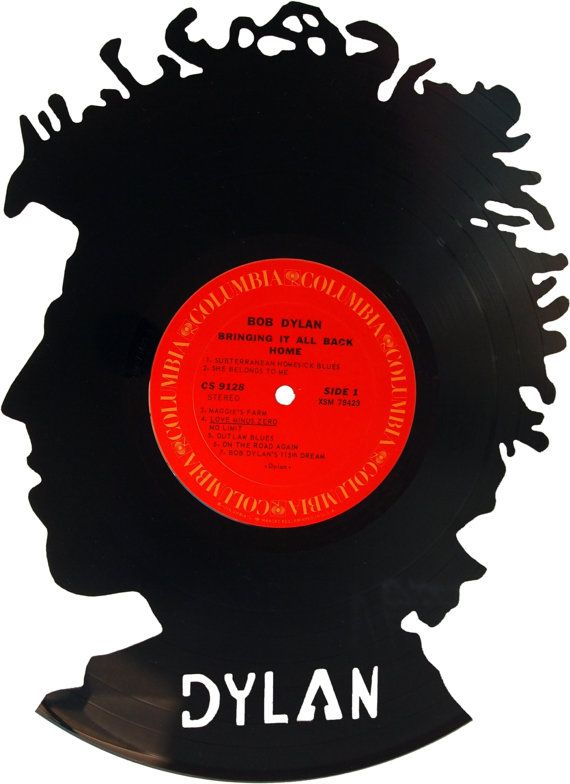 Bob Dylan Silhouette Vinyl Record Art By Recordsredone On Etsy 50 00 With Images Vinyl Record Art Record Art Bob Dylan