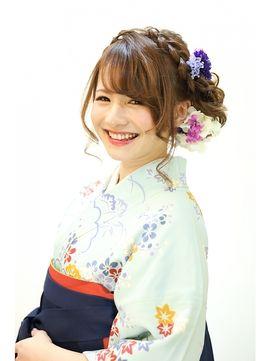 前髪なし 編み込み 卒業式の袴 ドレスに似合う ロング の髪型 2