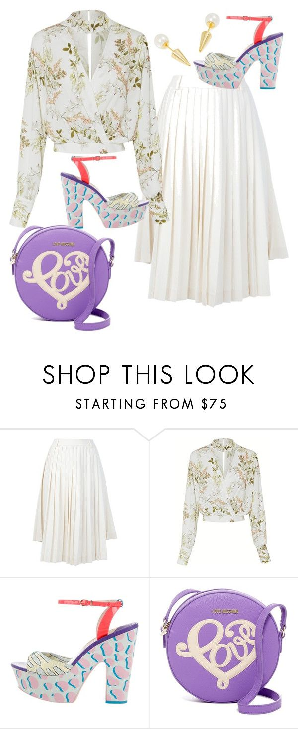 """Untitled #507"" by pesanjsp ❤ liked on Polyvore featuring Maison Margiela, Sophia Webster and Love Moschino"