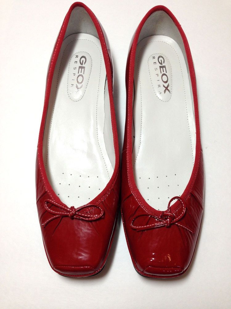 6df0d0fb3 GEOX shoes RESPIRA flat woman RED patent LEATHER slip on loafers size 10 40  NEW