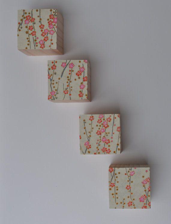 Cherry Blossoms Wood Cube Key Holder by blinchikberlinfaktur