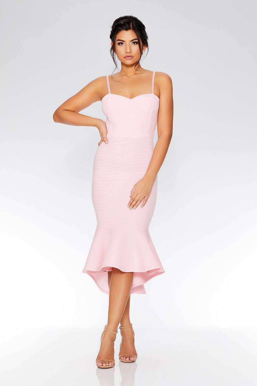 Pale pink strappy dip hem midi dress quiz clothing wedding