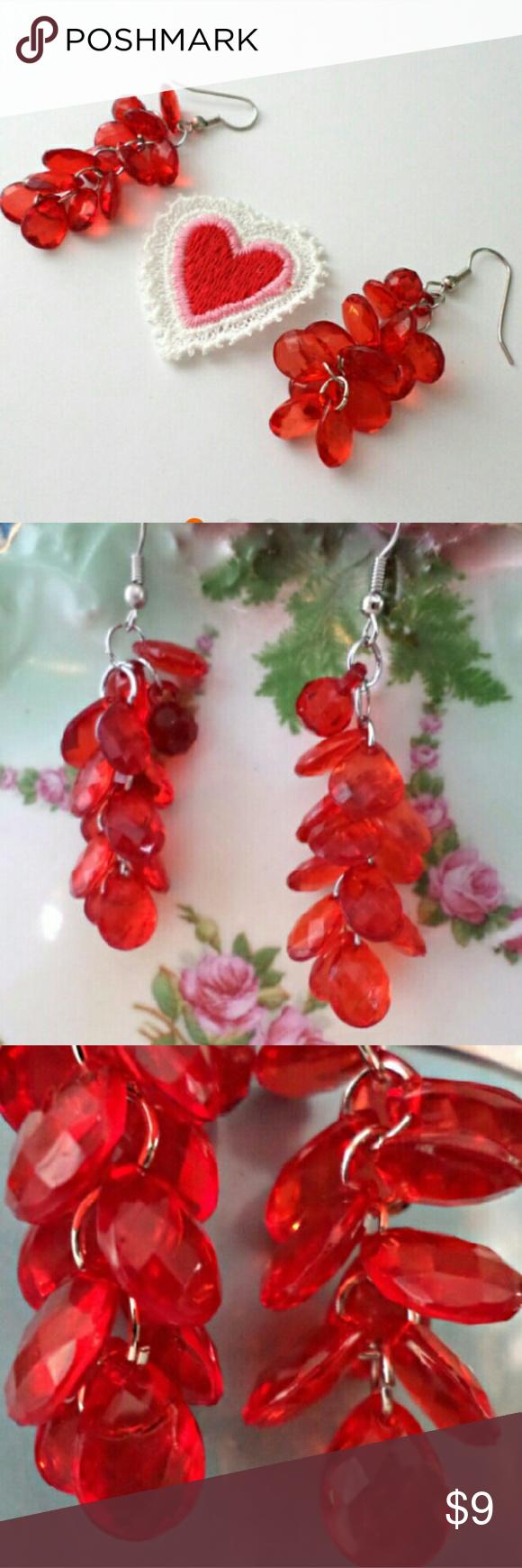 Handmade Red Valentine's Day Dangle Earrings Red Dangle Drop Earrings  Handmade By Me! The Beads