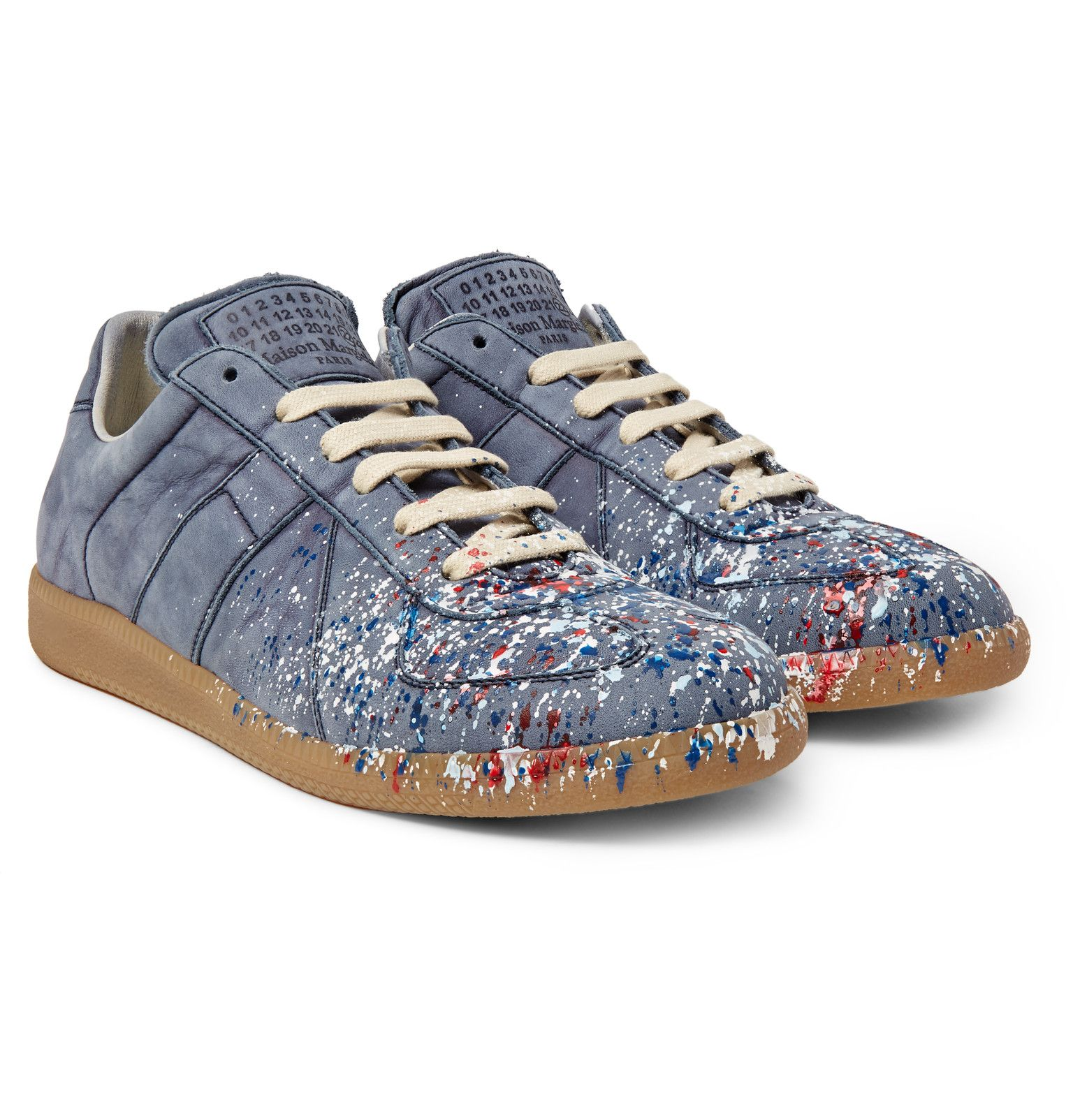 Maison margiela replica paint splattered nubuck sneakers for Replica maison martin margiela