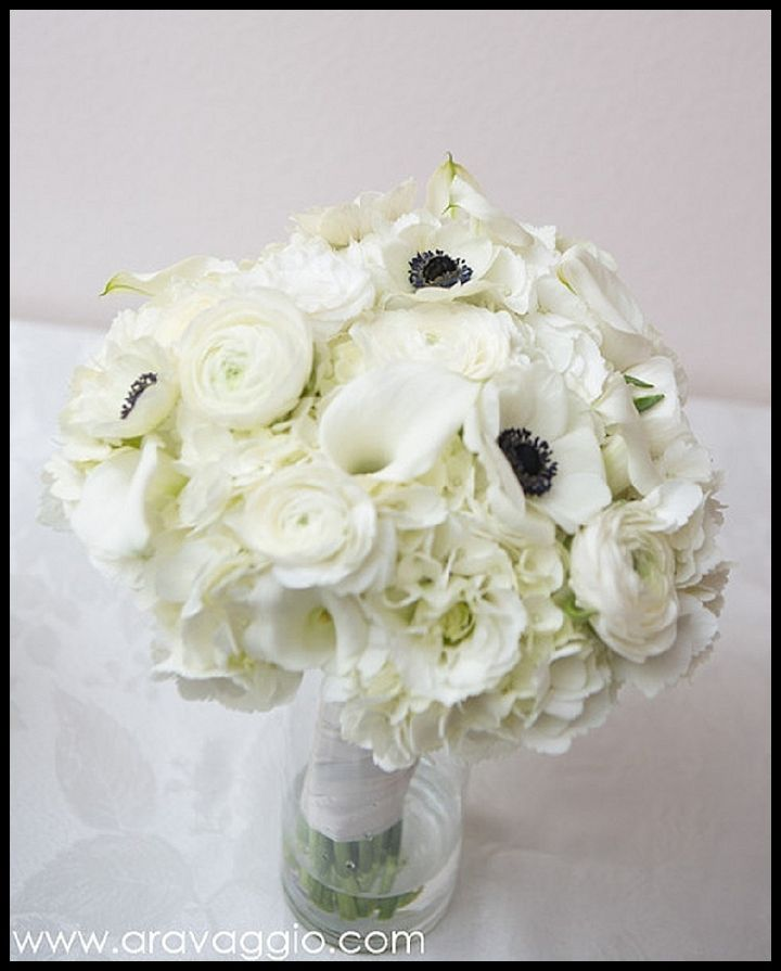 All White Bouquet Of Hydrangea, Anemone, Calla Lilies